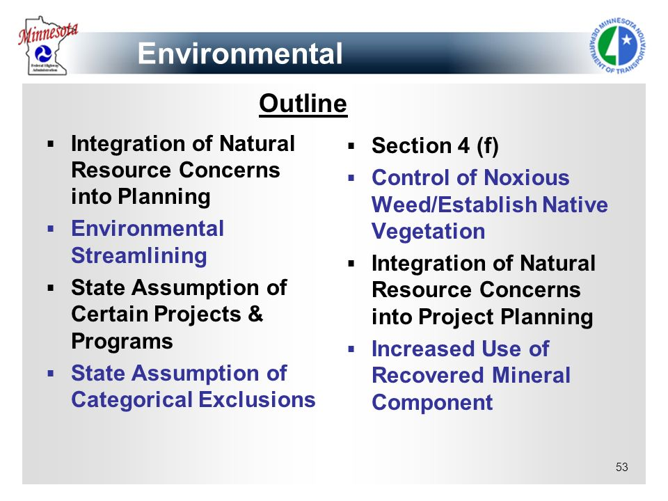 Environmental Outline