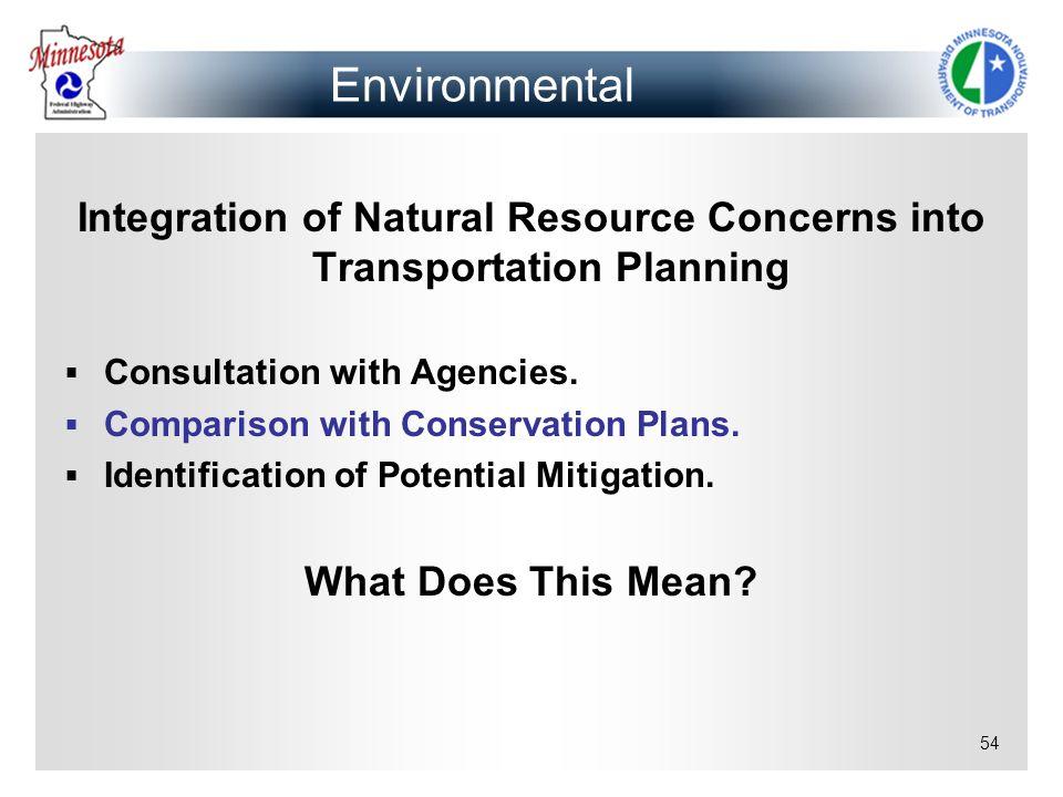 Integration of Natural Resource Concerns into Transportation Planning