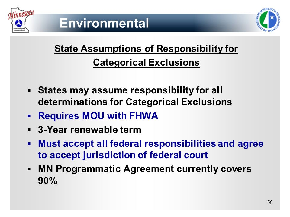 State Assumptions of Responsibility for Categorical Exclusions