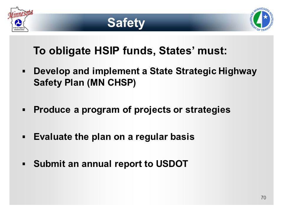 To obligate HSIP funds, States' must: