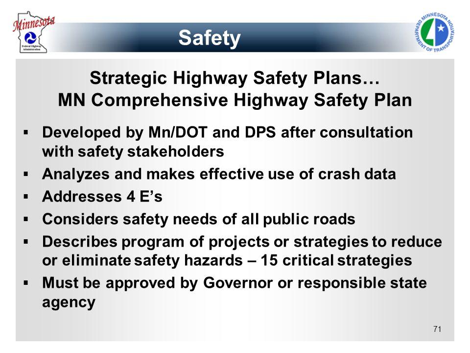 Strategic Highway Safety Plans… MN Comprehensive Highway Safety Plan