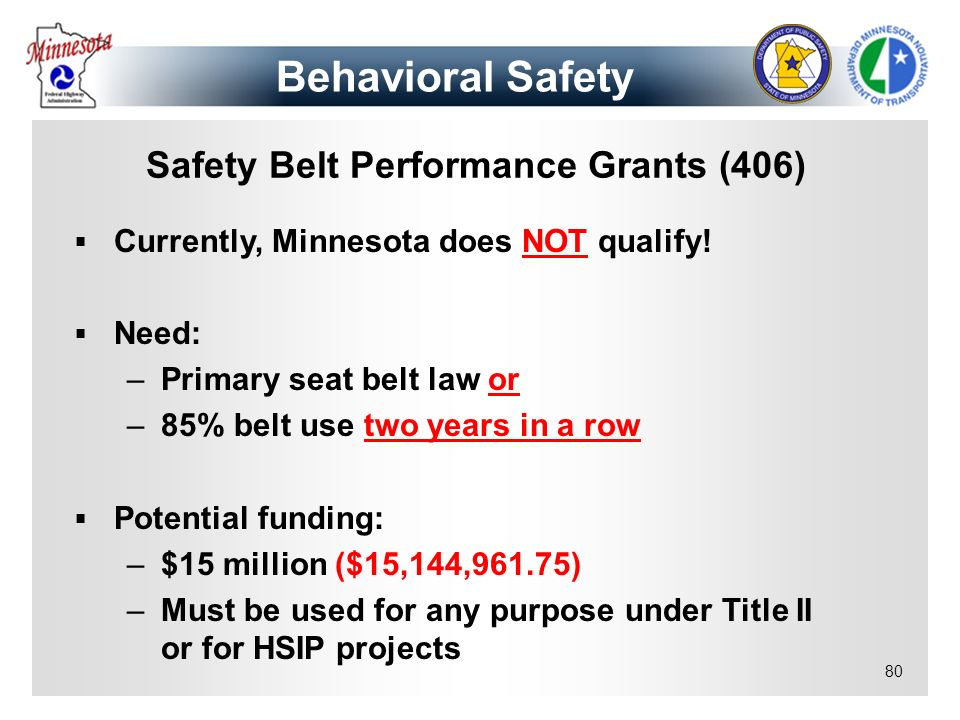 Safety Belt Performance Grants (406)