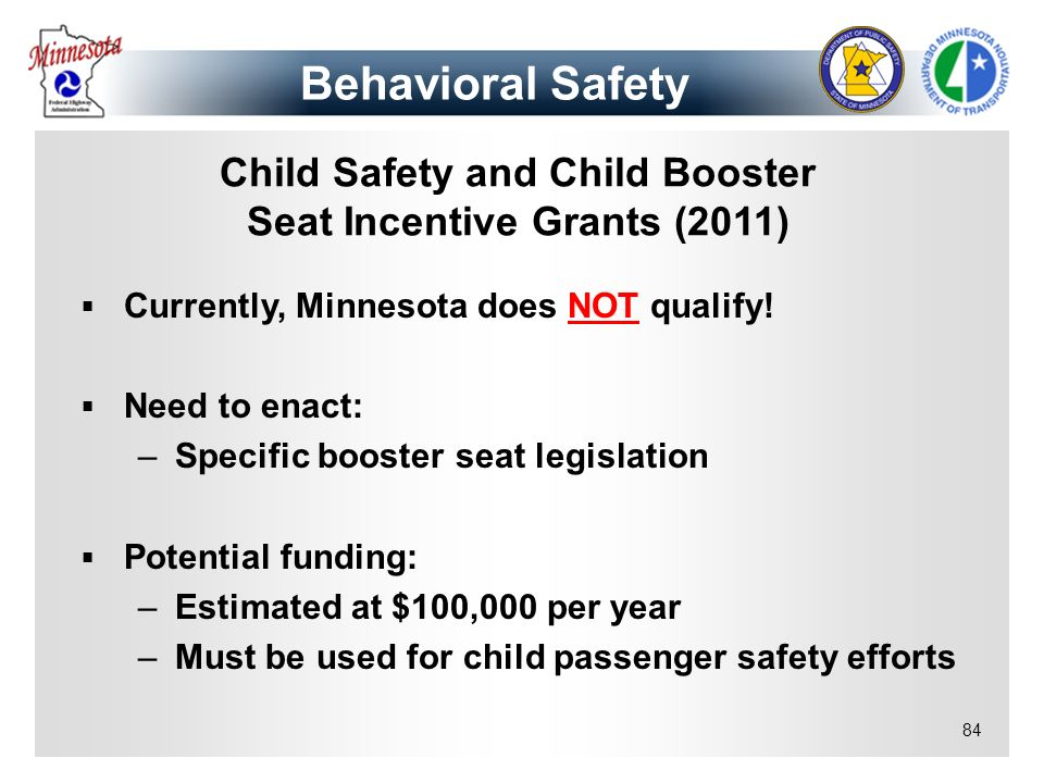Child Safety and Child Booster Seat Incentive Grants (2011)