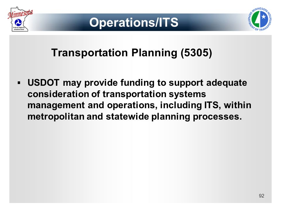 Operations/ITS Transportation Planning (5305)