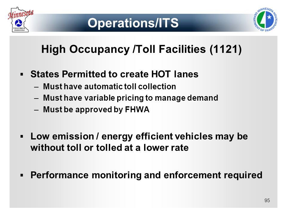 Operations/ITS High Occupancy /Toll Facilities (1121)