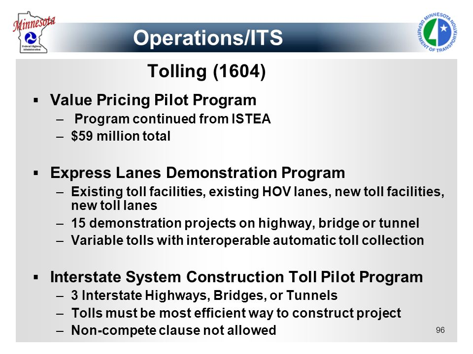 Operations/ITS Tolling (1604) Value Pricing Pilot Program