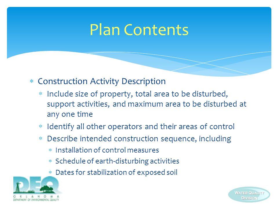 Plan Contents Construction Activity Description