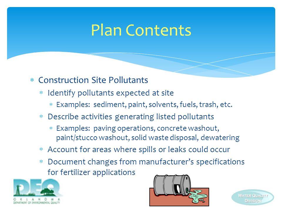 Plan Contents Construction Site Pollutants
