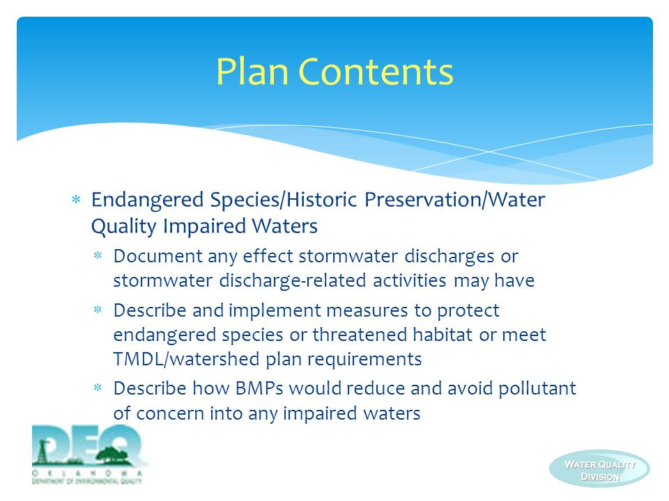 Plan Contents Endangered Species/Historic Preservation/Water Quality Impaired Waters.
