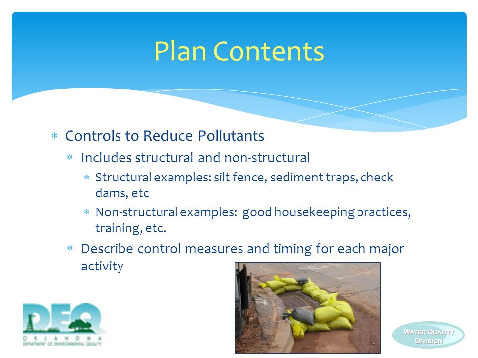 Plan Contents Controls to Reduce Pollutants