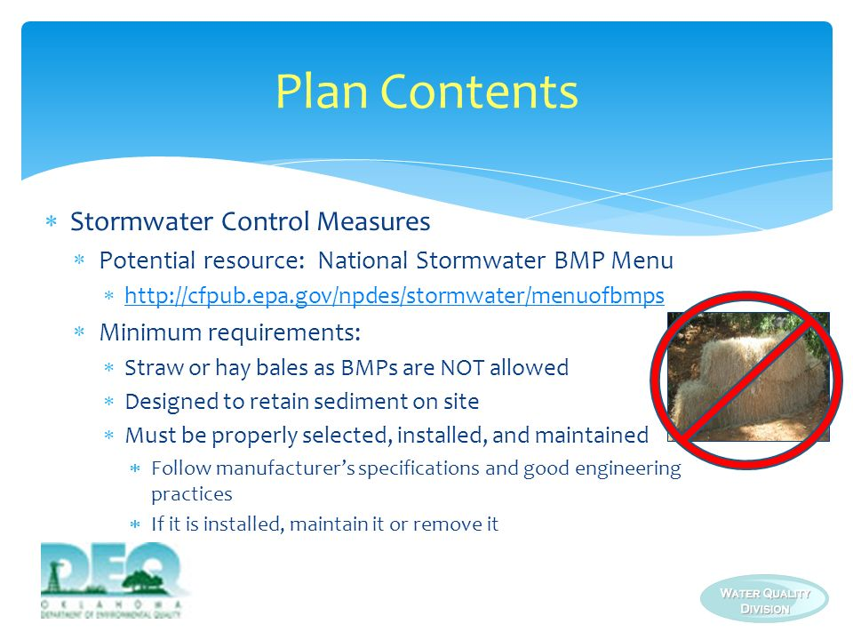 Plan Contents Stormwater Control Measures