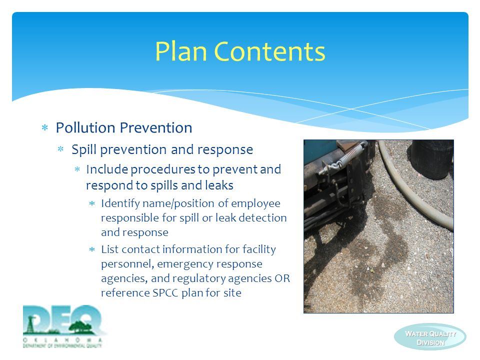 Plan Contents Pollution Prevention Spill prevention and response