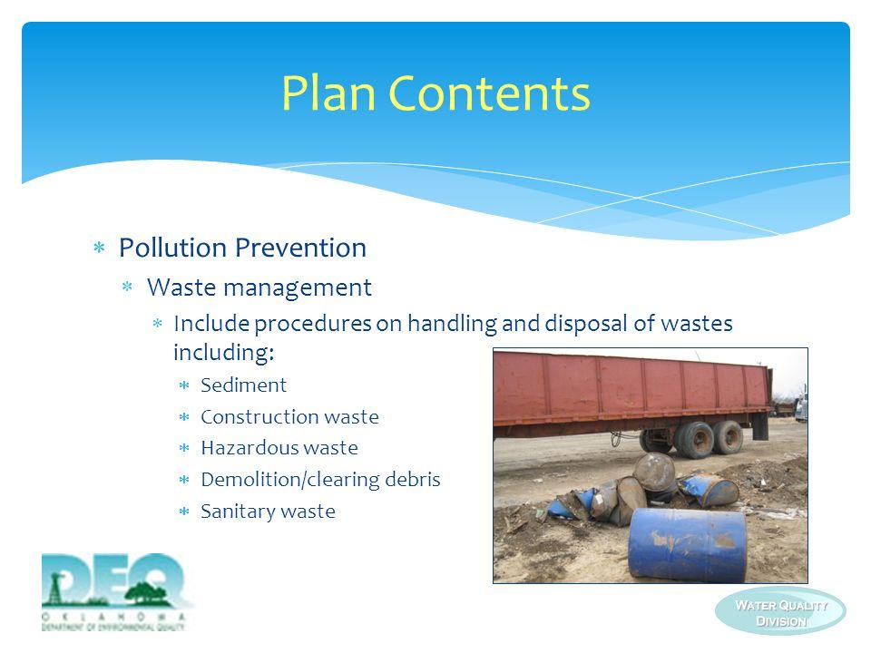 Plan Contents Pollution Prevention Waste management