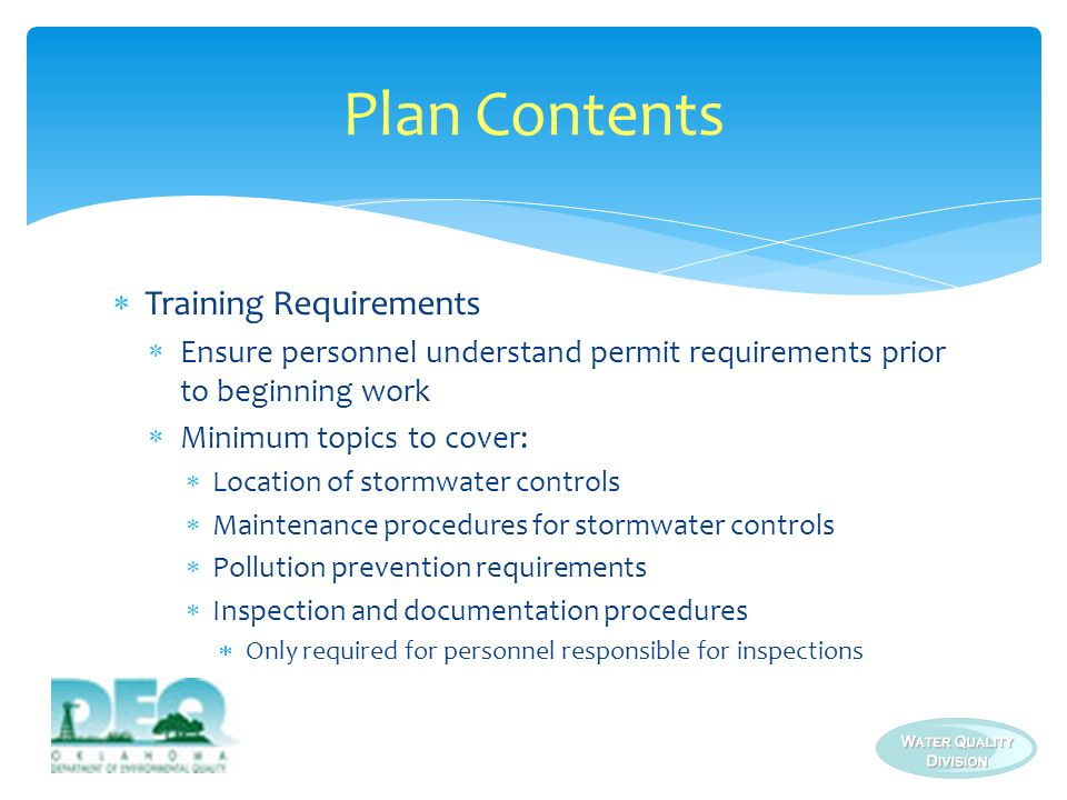 Plan Contents Training Requirements