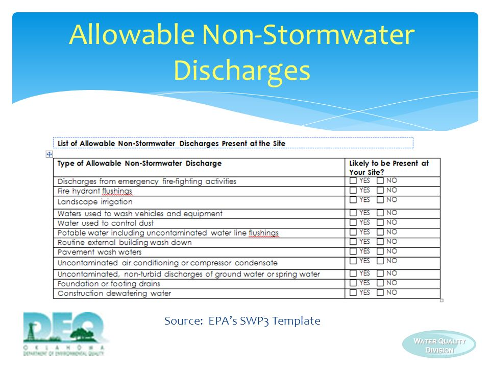 Allowable Non-Stormwater Discharges