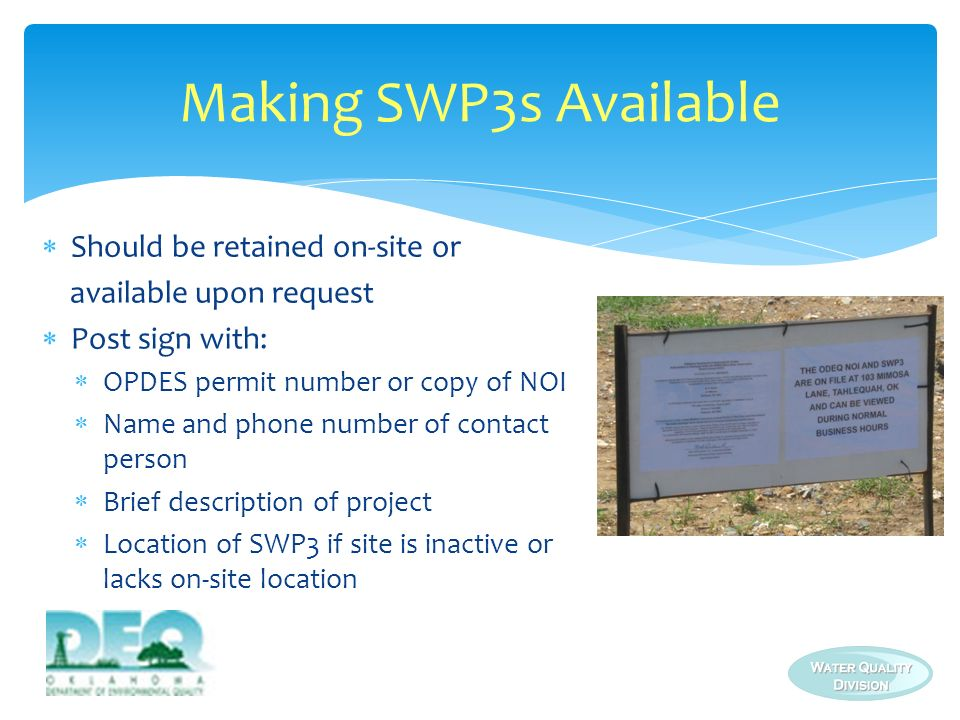 Making SWP3s Available Should be retained on-site or