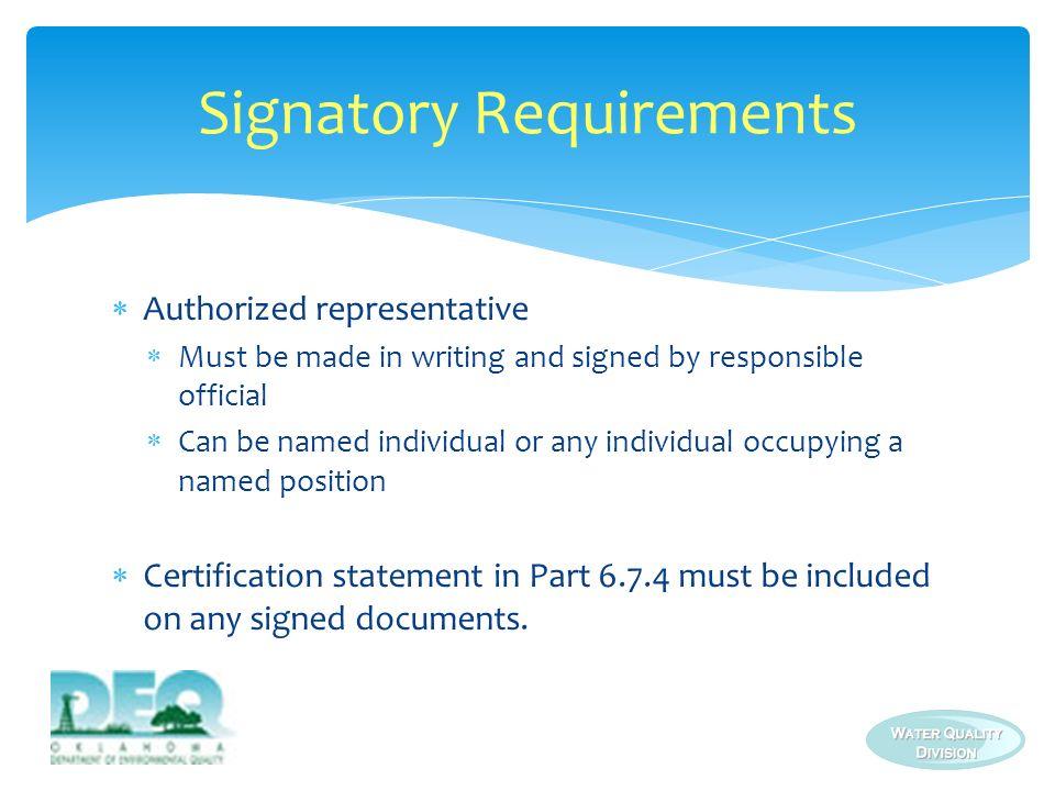 Signatory Requirements