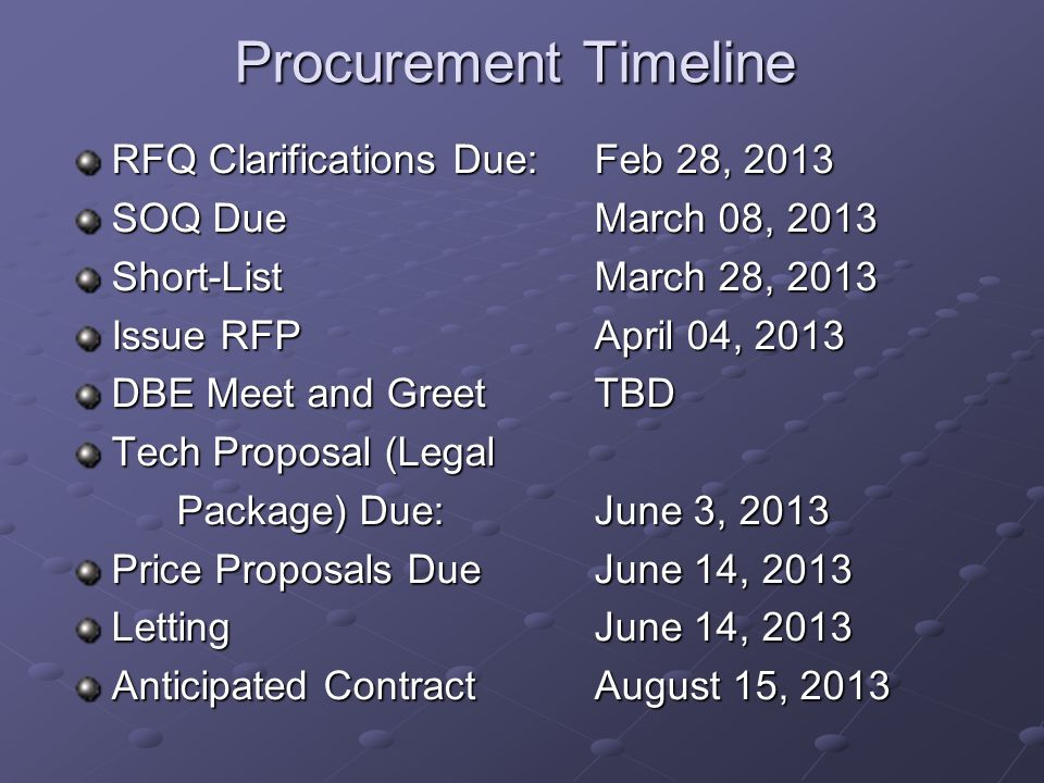Procurement Timeline RFQ Clarifications Due: Feb 28, 2013