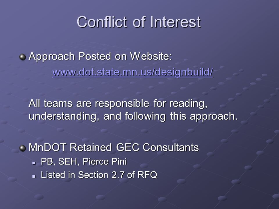 Conflict of Interest Approach Posted on Website: