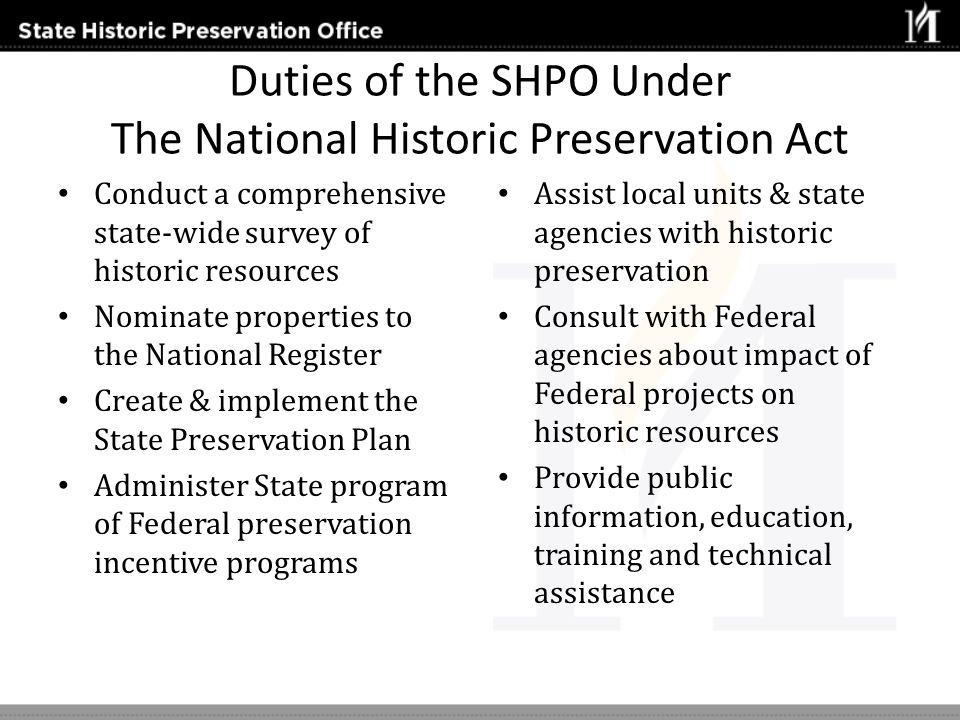 Duties of the SHPO Under The National Historic Preservation Act