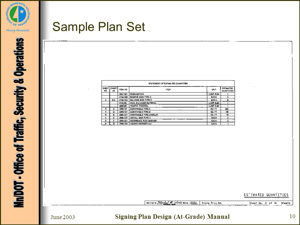 Signing Plan Design (At-Grade) Manual