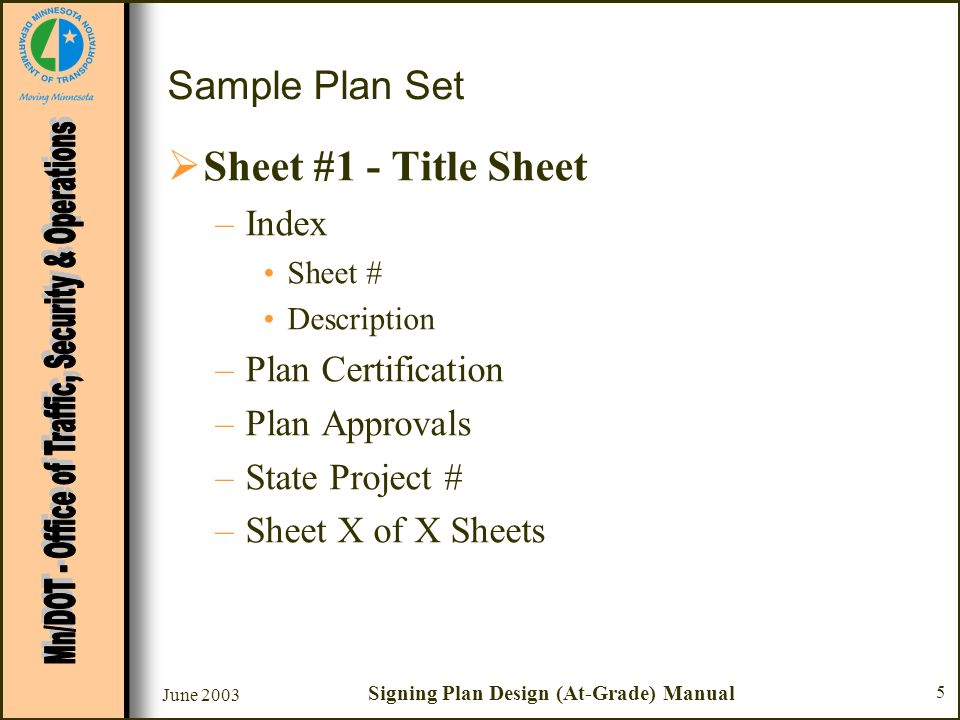 Signing Plan Design  At Grade Intersections Sample Plan Set  Ppt