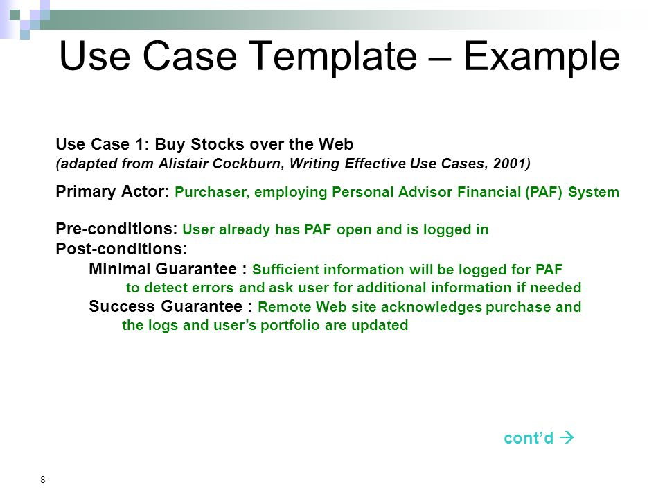 8 Use Case Template ...