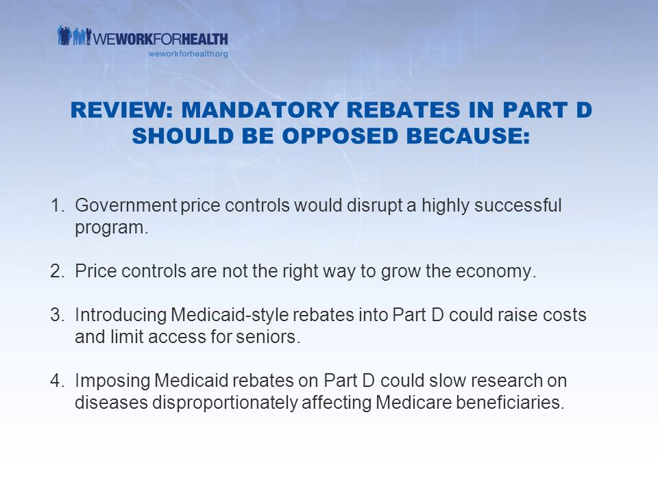 Medicare part d ppt video online download review mandatory rebates in part d should be opposed because ccuart Gallery