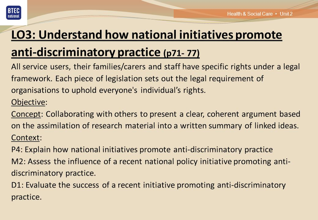 d1 evaluate the success of a recent initiative in promoting anti discriminatory practice Extracts from this document introduction jessica licorish 12b d1- evaluate the success of a recent initiative in promoting anti discriminatory practice.