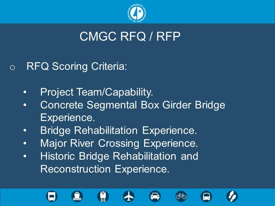 CMGC RFQ / RFP RFQ Scoring Criteria: Project Team/Capability.