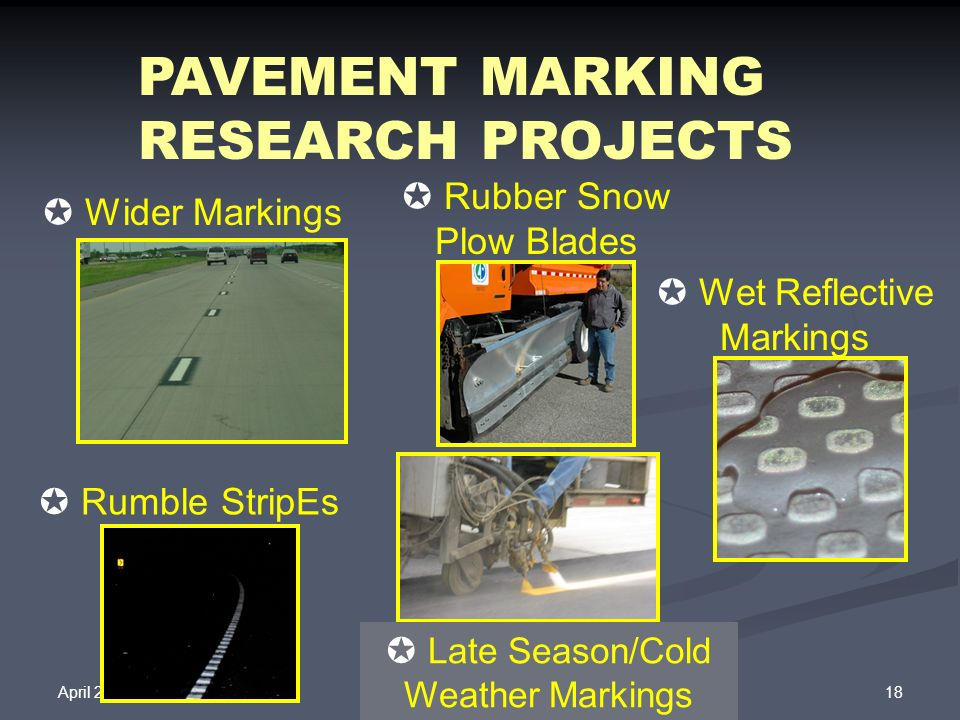 PAVEMENT MARKING RESEARCH PROJECTS