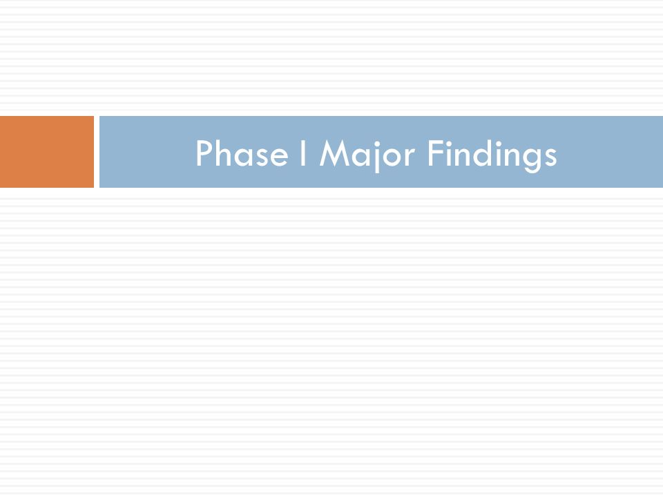 Phase I Major Findings
