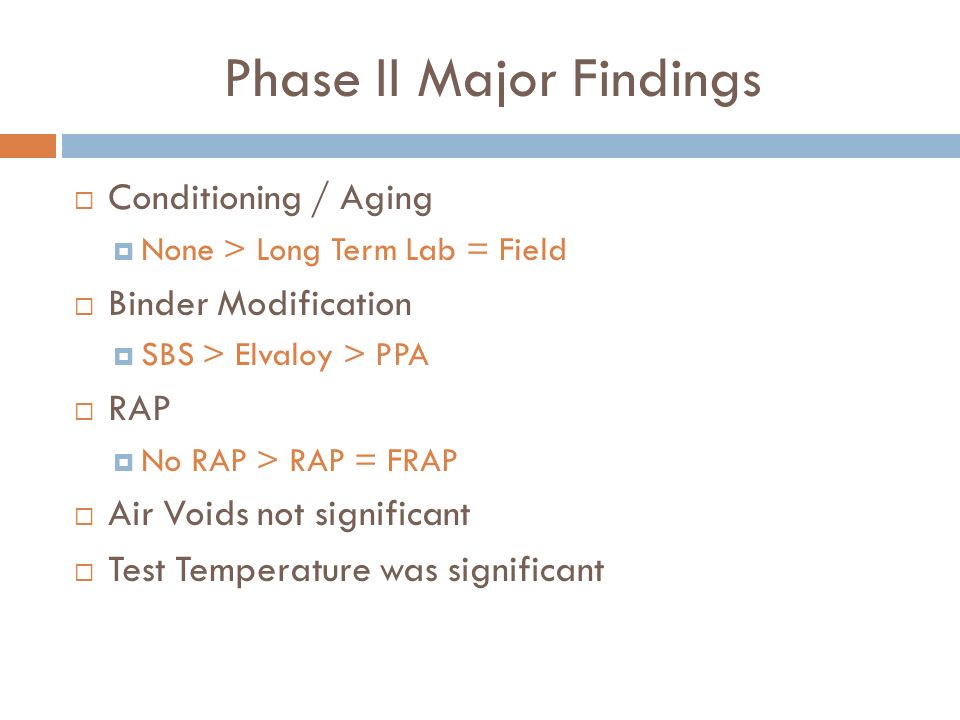 Phase II Major Findings