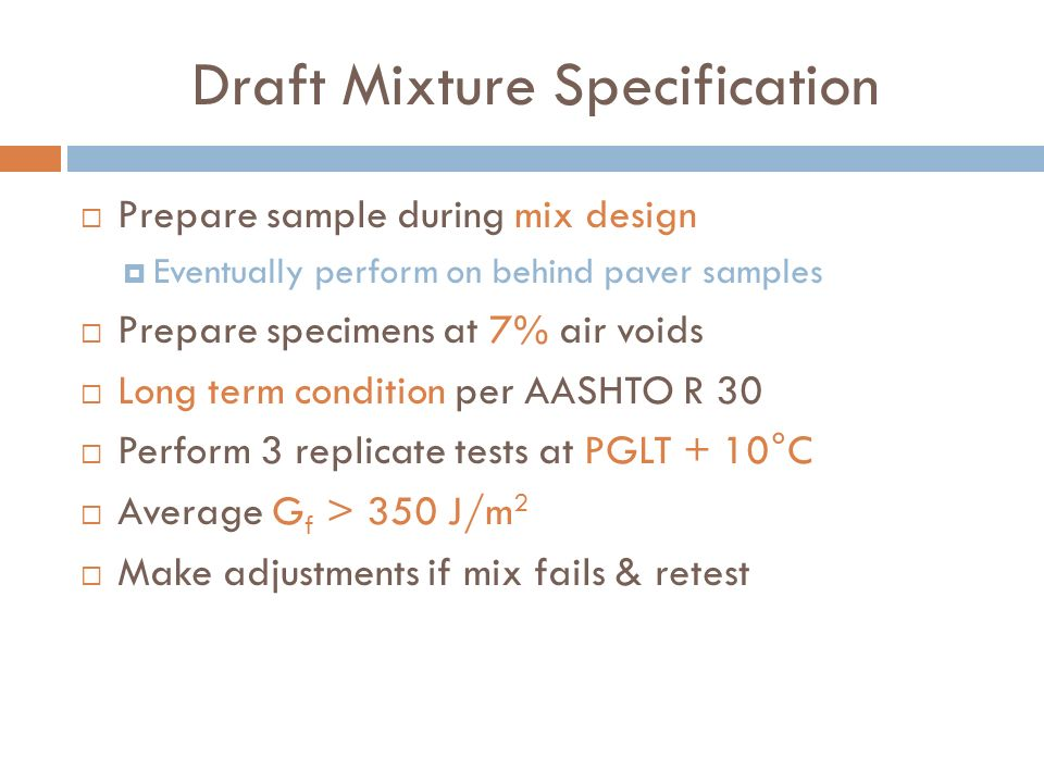Draft Mixture Specification