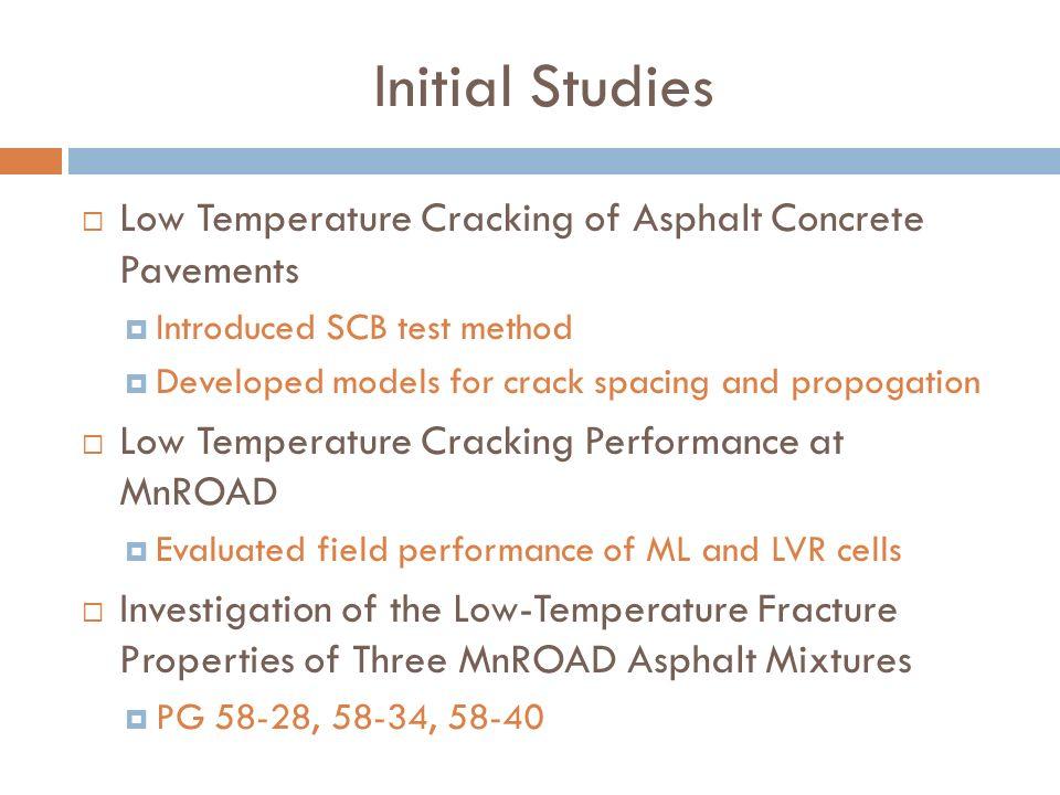 Initial Studies Low Temperature Cracking of Asphalt Concrete Pavements