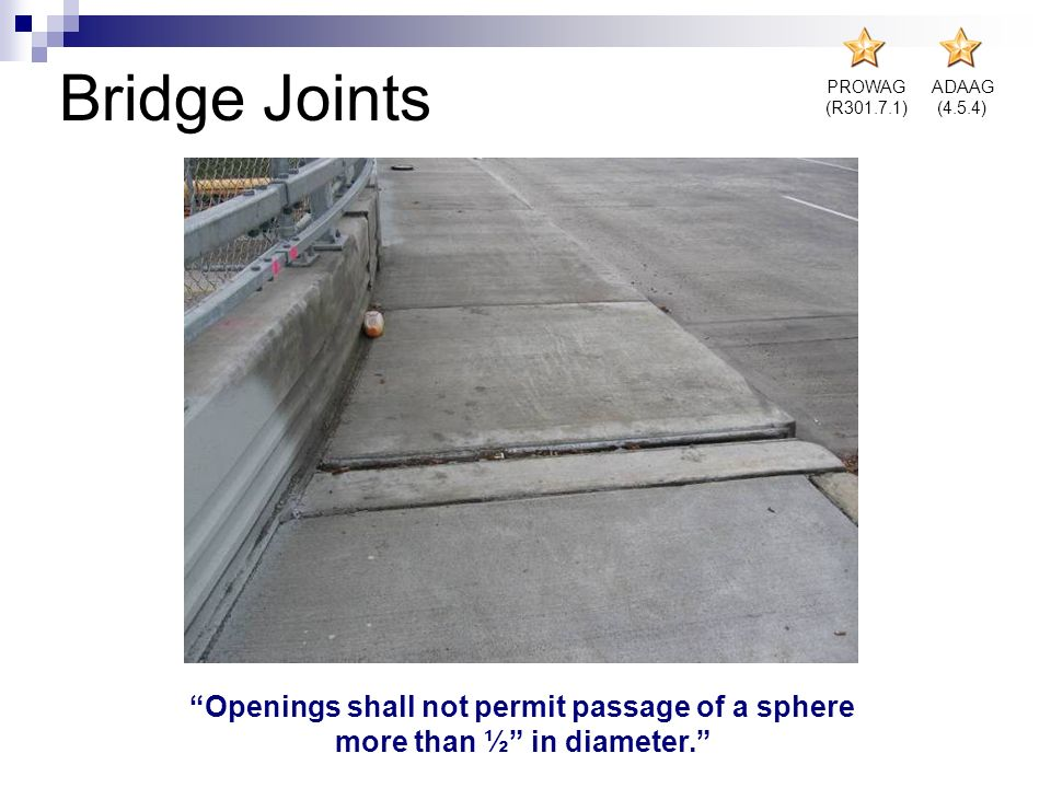 Bridge Joints Openings shall not permit passage of a sphere