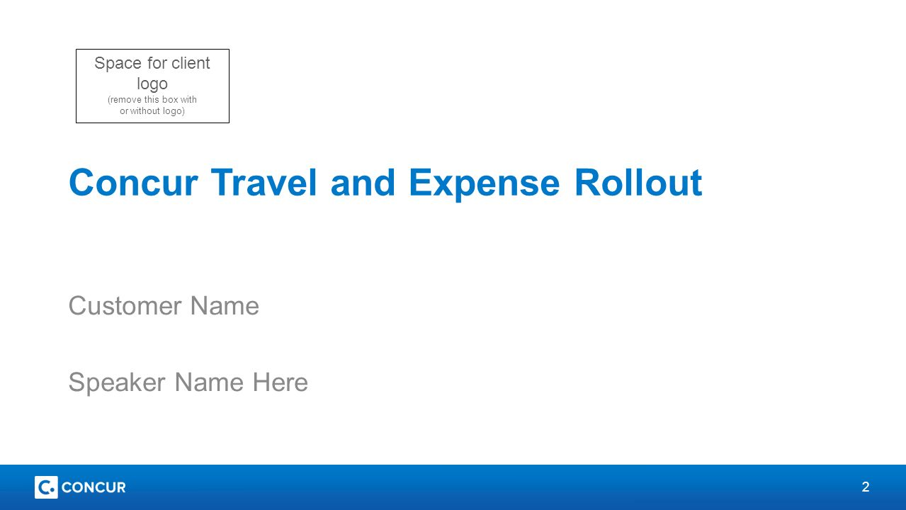 Concur Travel And Expense Rollout