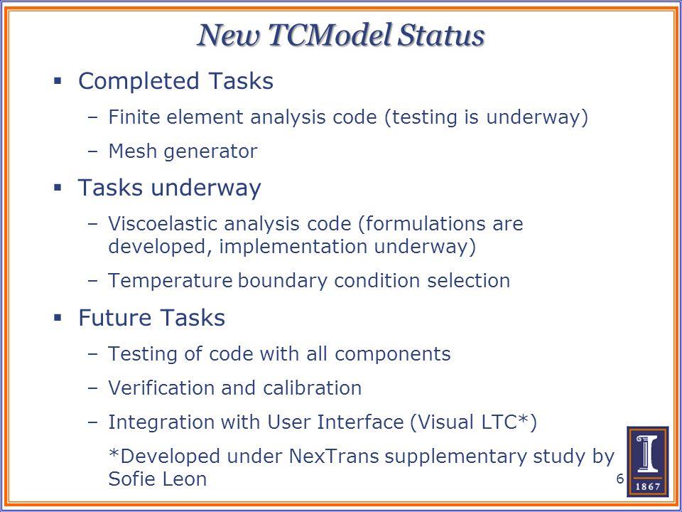 New TCModel Status Completed Tasks Tasks underway Future Tasks