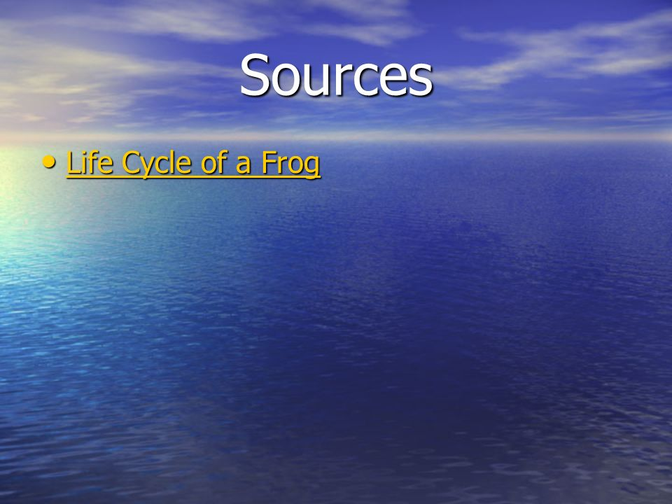 Sources Life Cycle of a Frog