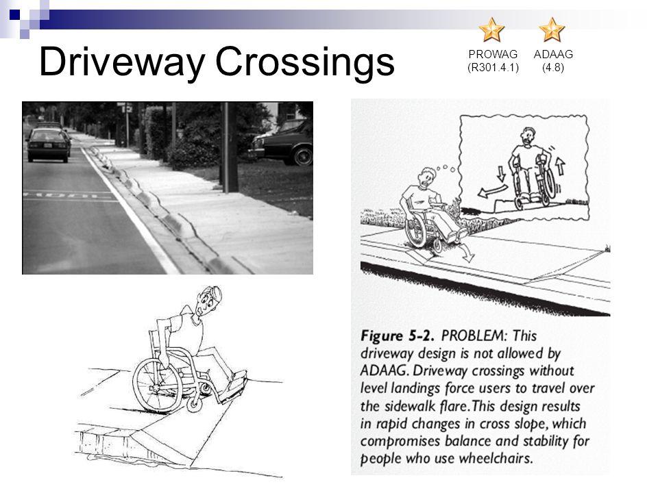 Driveway Crossings PROWAG (R301.4.1) ADAAG (4.8)