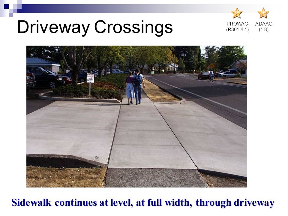 Sidewalk continues at level, at full width, through driveway