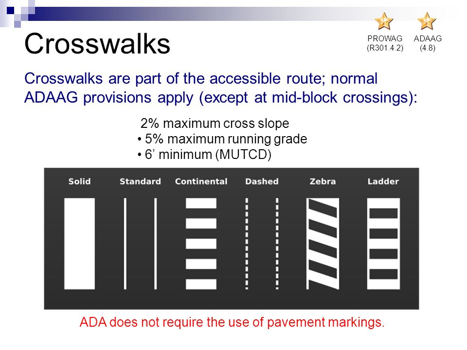 Crosswalks PROWAG. (R301.4.2) ADAAG. (4.8)