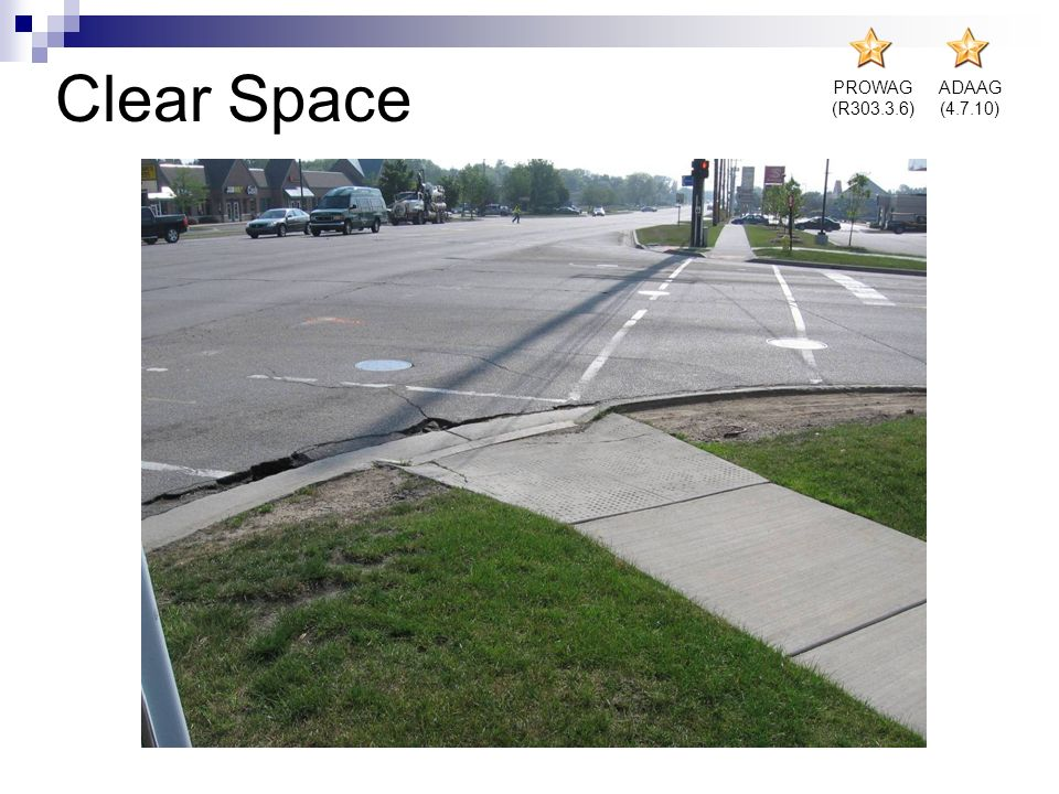 Clear Space PROWAG (R303.3.6) ADAAG (4.7.10)