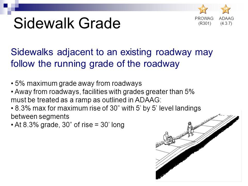 Sidewalk Grade PROWAG. (R301) ADAAG. (4.3.7) Sidewalks adjacent to an existing roadway may follow the running grade of the roadway.