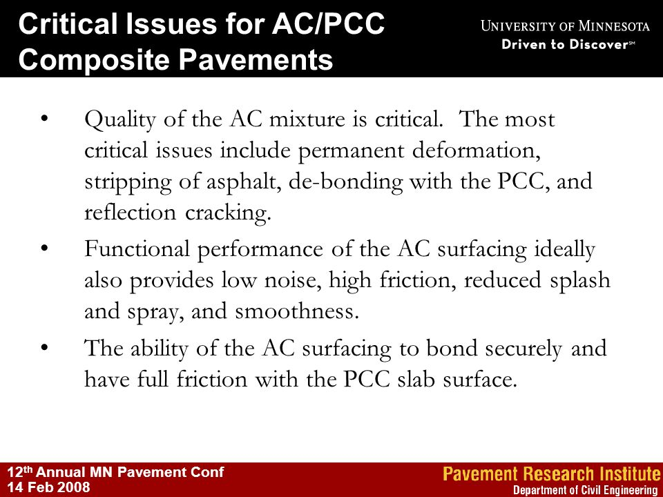Critical Issues for AC/PCC Composite Pavements