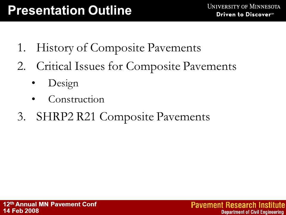History of Composite Pavements Critical Issues for Composite Pavements