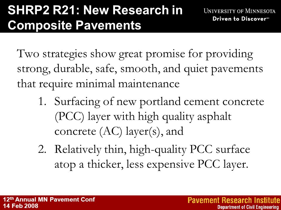 SHRP2 R21: New Research in Composite Pavements