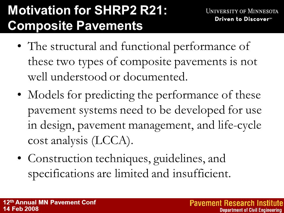 Motivation for SHRP2 R21: Composite Pavements