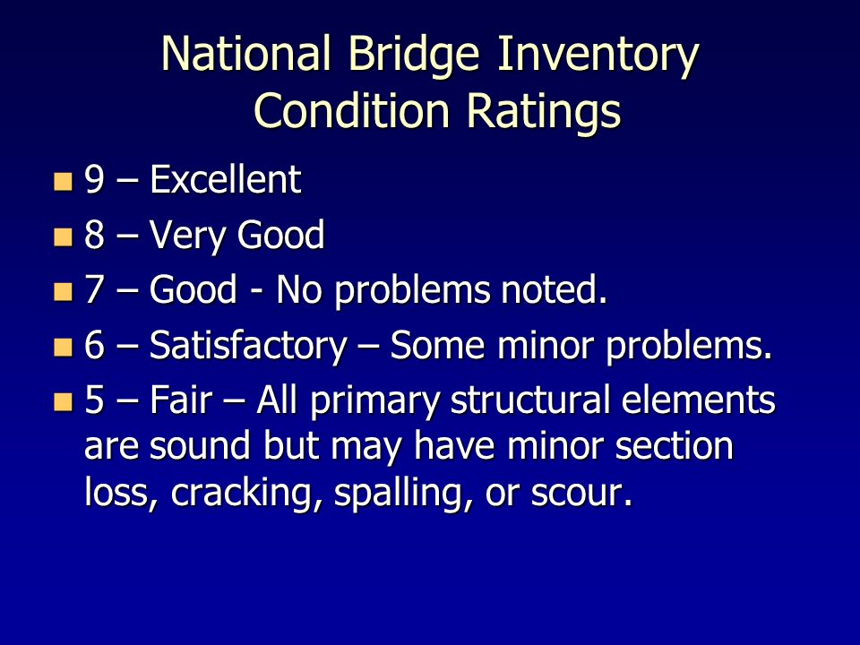 National Bridge Inventory Condition Ratings