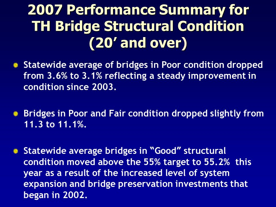 2007 Performance Summary for TH Bridge Structural Condition (20' and over)